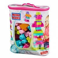 Детский Игровой Развивающий Конструктор для девочек из 60 розовых деталей в сумке Mega Bloks First Builders