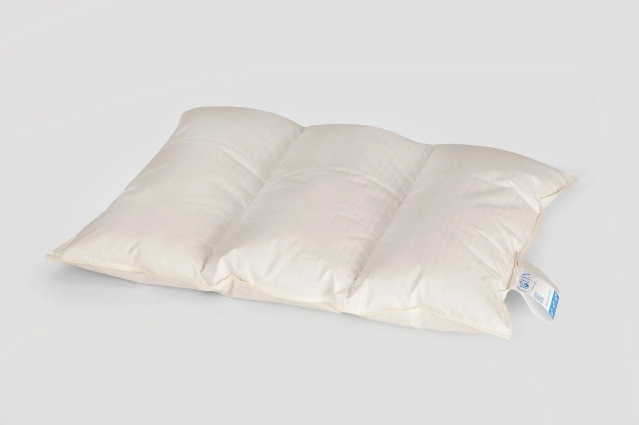 Подушка трёхкамерная 100% пух серый, 50*70