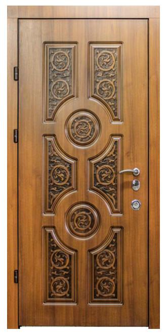 """Входные двери металлические, рис. """"БП"""" №23, Цвет Дуб сокальский, черная патина"""
