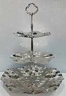 Конфетница {фруктовница} трёхъярусная нержавеющая круглая H 330 мм (шт)