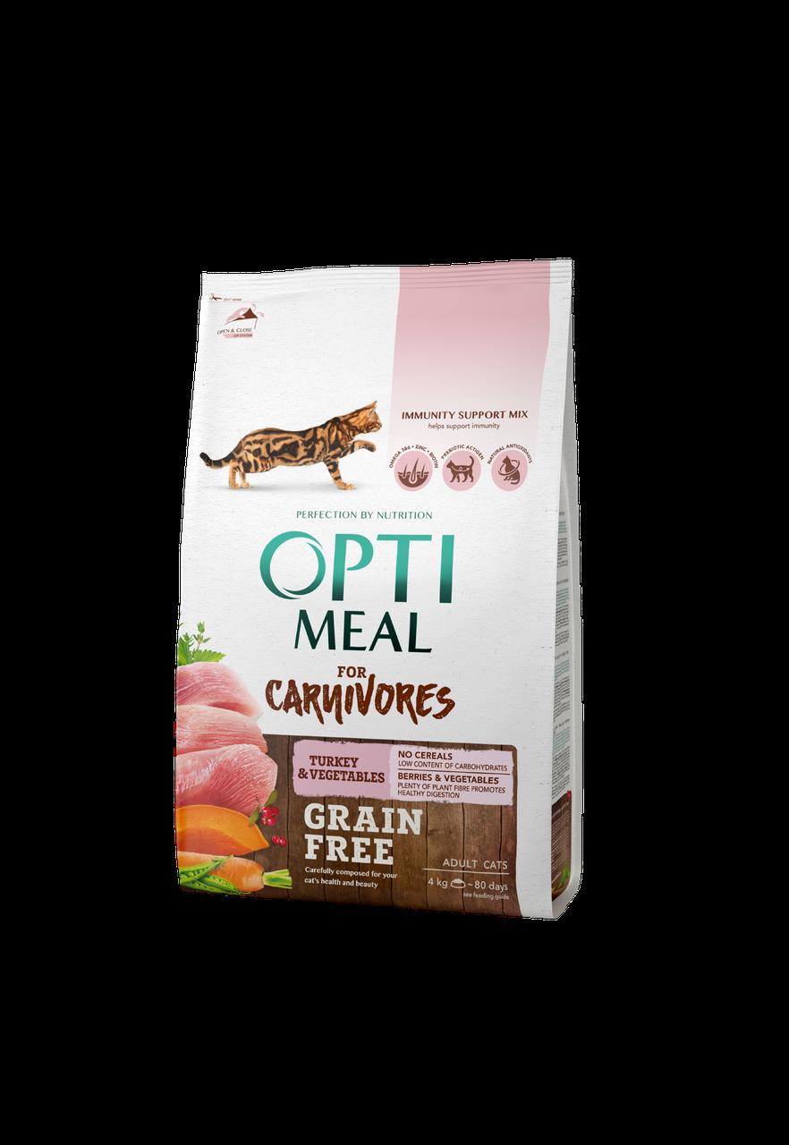 Сухой беззерновой корм для взрослых кошек Индейка с овощами 4 кг OPTIMEAL ОПТИМИЛ