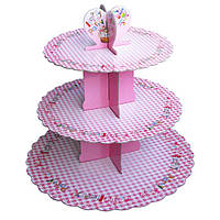 Стенд трёхъярусный картонный круглый для капкейков розового цвета с надписями (шт)