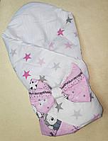 Красивый конверт на выписку Хлопок одеяло для новорожденного Панда бежевый