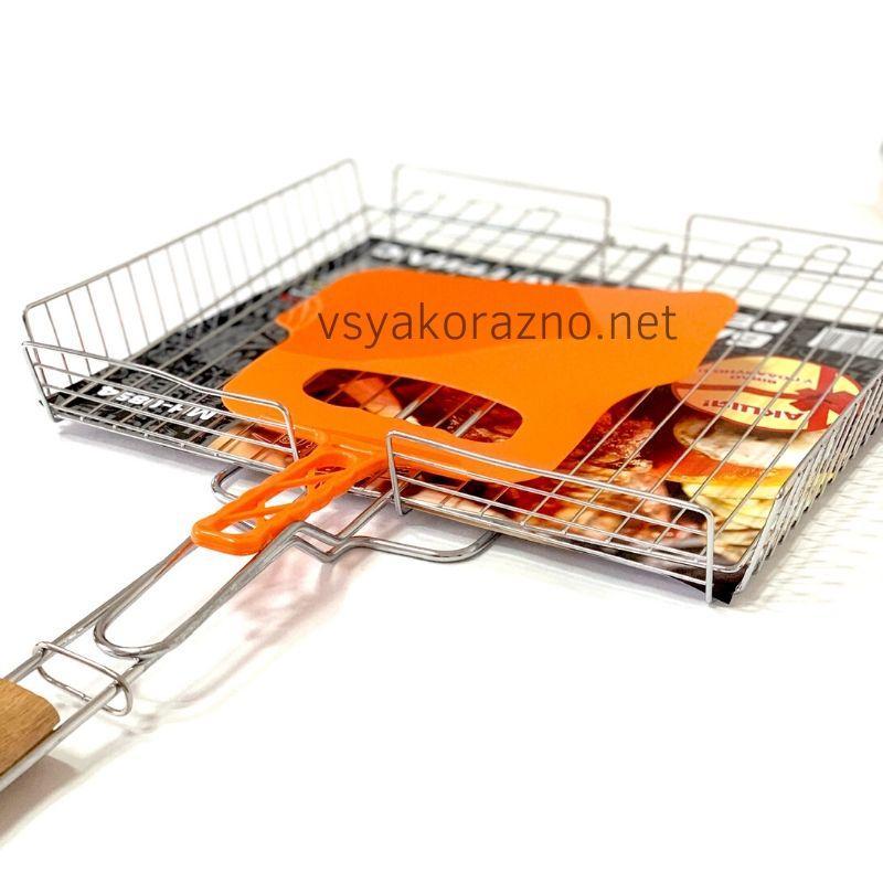 Решетка для гриля на мангал из нержавейки (36*32 см) + веер / Решітка для гриля і барбекю на мангал