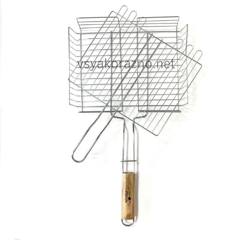Решетка для гриля на мангал из нержавейки / Решітка для гриля і барбекю на мангал (31*25 см)