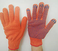 Перчатки хозяйственные, строительные ХБ с ПВХ точкой, оранжевые, размер 10