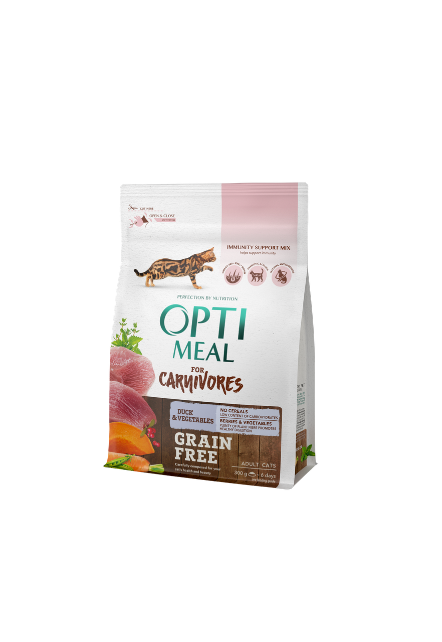 Сухий беззерновой корм для дорослих кішок Качка з овочами 300 г OPTIMEAL ОПТИМИЛ
