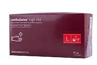 Перчатки AMBULANCE HIGH RISK синие латексные повышенной прочности 50шт (25пар), размер L, фото 1