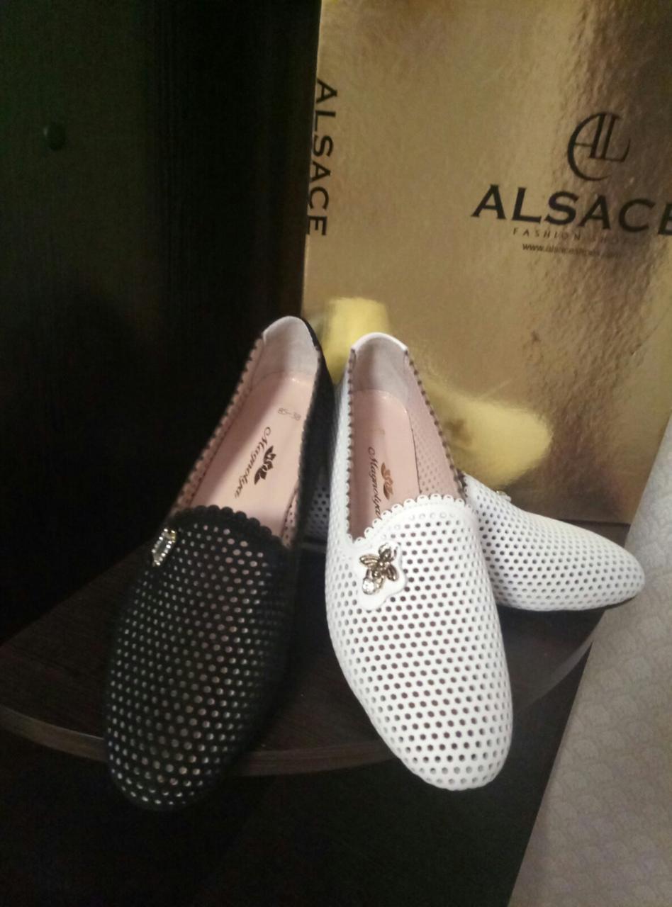 Женские летние туфли из перфорированной кожи