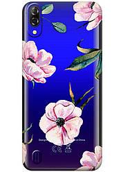 Прозрачный силиконовый чехол iSwag для Blackview A60 с рисунком - Пионы H569, КОД: 1429039