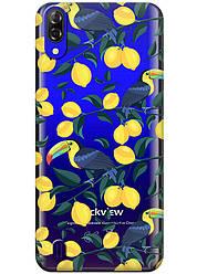Прозрачный силиконовый чехол iSwag для Blackview A60 с рисунком - Туканы и лимоны H596, КОД: 1429062