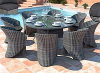 Комплект обідній MERLO  Grey круглий стіл 160см+8 кресел Aguila
