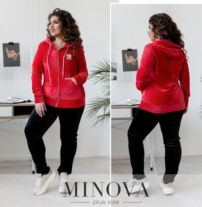 Красный велюровый спортивный костюм Minova Размеры: 50,52,54,56,58,60,62
