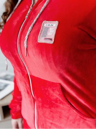 Красный велюровый спортивный костюм Minova Размеры: 50,52,54,56,58,60,62, фото 2