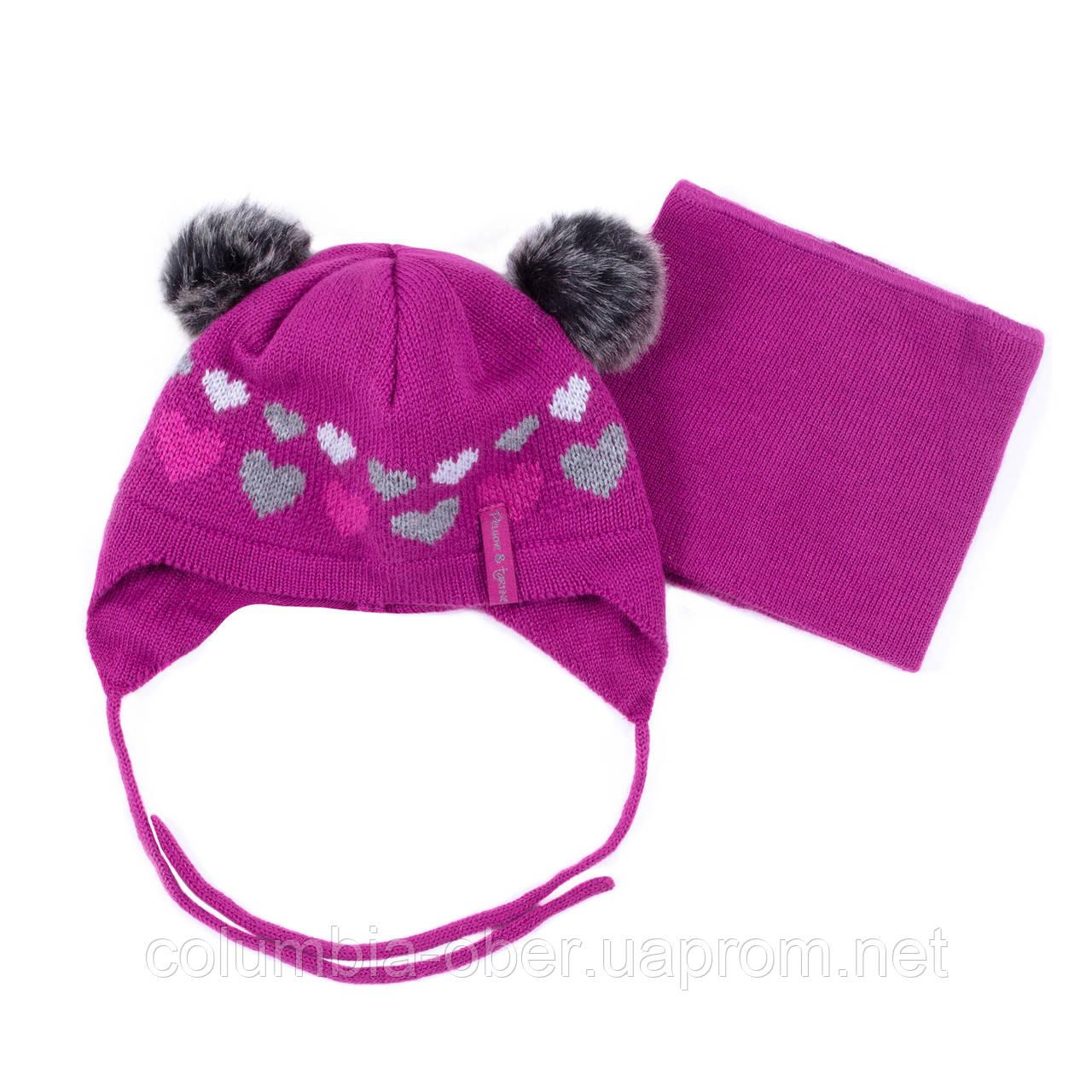 Зимняя шапка+манишка для девочки PELUCHE F19ACC02BF BatonRouge. Размеры 6/12 мес - 2/3 года .