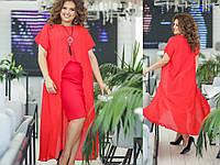 Летнее платье-сарафан с шифоном красное, фото 1