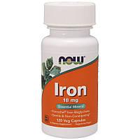 Витамины и минералы NOW Iron 18 mg, 120 вегакапсул