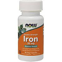 Витамины и минералы NOW Iron 36 mg, 90 вегакапсул