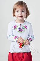Вишиванка для дівчинки Маки фіолет з довгим рукавом