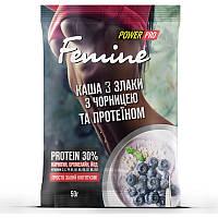 Заменитель питания Power Pro Каша Femine злаки с протеином 30%, 50 грамм Черника