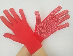 Перчатки нейлон, ПВХ точка красные, черные, серые, синие, размер 10