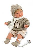Детская Игровая Испанская говорящая Кукла Llorens Саша плачущий в шапочке, свитере и шарфе 38 см из винила
