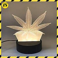 3D светильник ночник Марихуана UTM