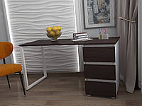 Стол Тавол КС 8.1 со стационарной тумбой металл опора белая 140смх60смх75см ДСП 16 мм Венге/Белый