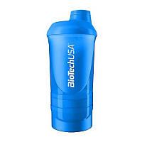 Шейкер Biotech Wave + Shaker 3in1 600 мл, синий