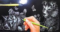 Гравюра панорама Кот и пес Серебро, фото 1