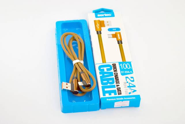 Кабель Usb-cable iPhone Sertec ST-054L+L 2.4A 1m (Г-образный, метал. коннектор, круглый) Brown, фото 2
