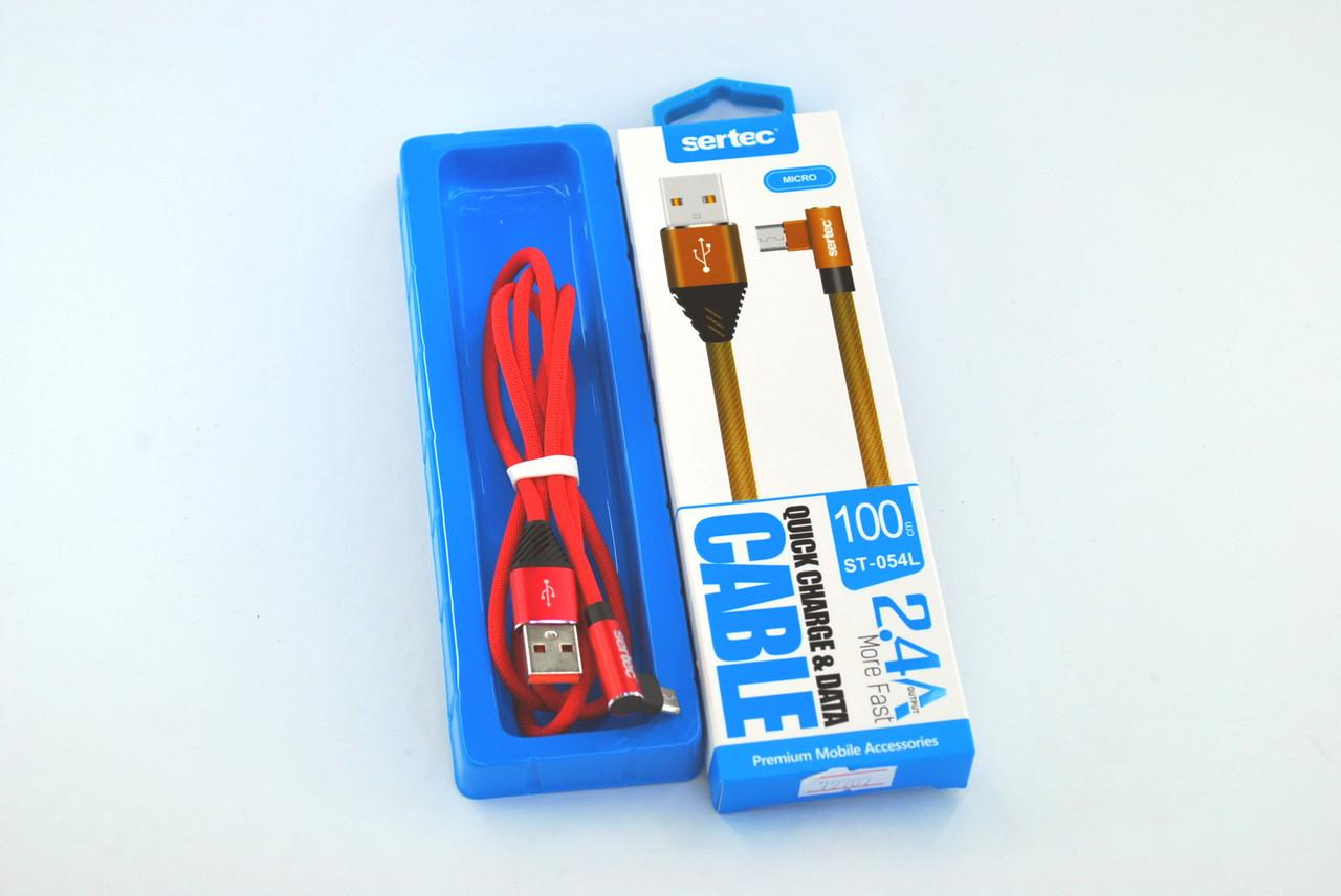 Купить Кабели для электроники, Кабель Usb-cable Micro USB Sertec ST-054L 2.4A 1m (Г-образный, метал. коннектор, круглый) Red
