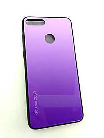 Чехол для телефона Huawei Y9 (2018) Silicone Glass Gradient Status Case фиолетовый