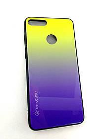 Чехол для телефона Huawei Y9 (2018) Silicone Glass Gradient Status Case фиолетово-зелёный