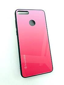Чехол для телефона Huawei Y9 (2018) Silicone Glass Gradient Status Case розовый