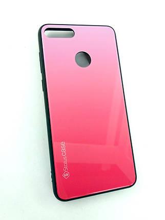 Чехол для телефона Huawei Y9 (2018) Silicone Glass Gradient Status Case розовый, фото 2