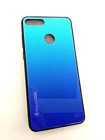 Чехол для телефона Huawei Y9 (2018) Silicone Glass Gradient Status Case голубой