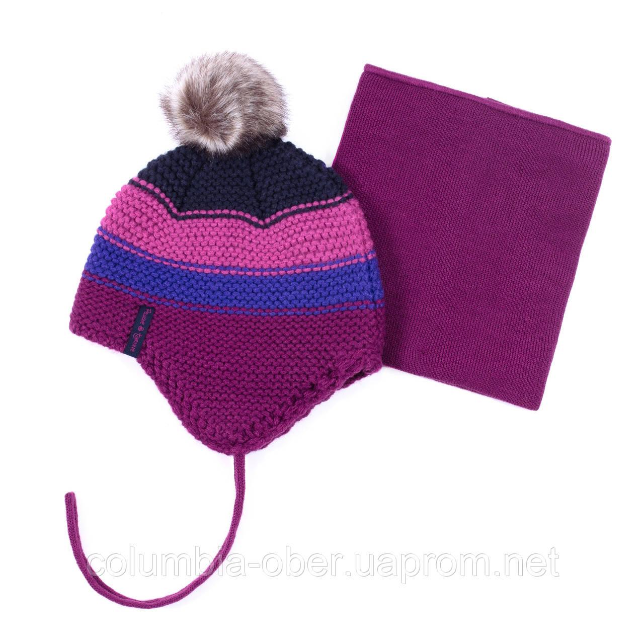 Зимняя шапка+манишка для девочки PELUCHE F19ACC54EF Byzantine. Размеры 3/5 и 6/8 лет .