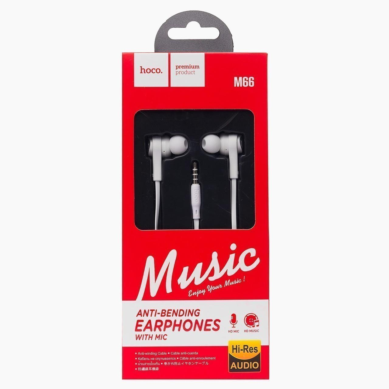 Гарнитура Hoco M66 (микрофон,круглый шнур) White