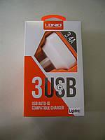 Зарядное устройство LDNIO DL-AC65 3400 mAh 3 Usb + кабель iPhone White