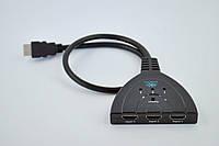 Кабель HDMI папа/3*HDMI мама (c переключателем, позол. коннект) 55см черный