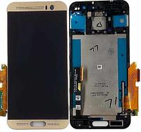 Дисплей модуль HTC One M9+ в зборі з тачскріном, золотистий, з рамкою
