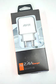 Зарядное устройство Aspor A829 2400 mAh 2 Usb + кабель Micro USB (orig 100%) White