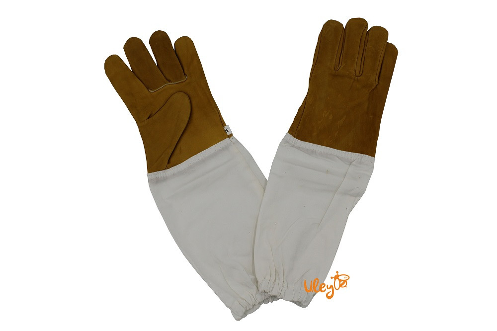 Перчатки пчеловода с нарукавниками. Яловая кожа плотная износостойкая. «Польша»