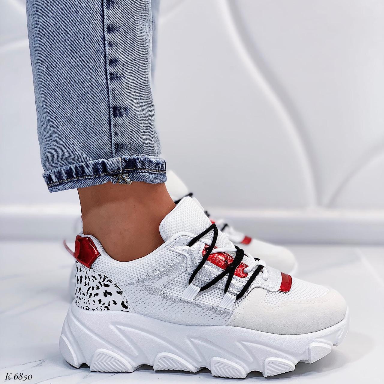 Женские кроссовки белые с красным эко-кожа/ замш/ текстиль