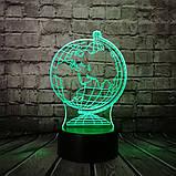 3D светильник с пультом и аккумулятором 3D Lamp Глобус (LP-17765), фото 9
