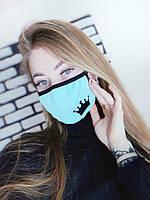 Многоразовая маска бафф на лицо с принтом короны бирюза. Отправка по полной оплате .