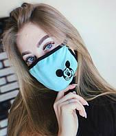 Многоразовая маска бафф на лицо с принтом Микки мауса бирюза