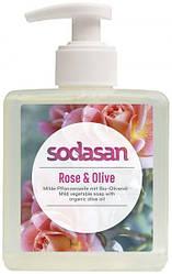 SODASAN Органическое  Мыло Rose-Olive жидкое, тонизирующее с розовым и оливковым маслами, 300 мл