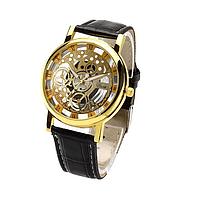 Мужские классические наручные часы «Skeleton» корпус в цветовой схеме золото